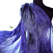 Шелковый Шарф фиолетово серый натуральный шёлк батик