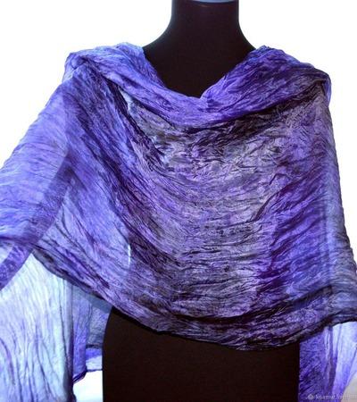 Шелковый Шарф фиолетово серый натуральный шёлк батик ручной работы на заказ