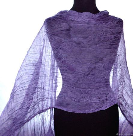 Серо сиреневый Тонкий шифоновый женский шарф натуральный шелк ручной работы на заказ