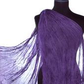 Тонкий шифоновый женский шарф сиренево серый натуральный шелк