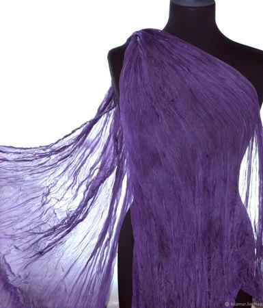 Тонкий шифоновый женский шарф сиренево серый натуральный шелк ручной работы на заказ