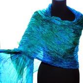Женский Шелковый Шарф палантин сине зелёный широкий длинный
