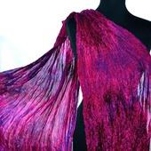 Шарф малиново бордовый с фиолетовым натуральный шелк ручная работа