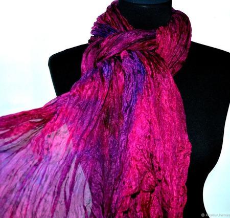 Шарф малиново бордовый с фиолетовым натуральный шелк ручная работа ручной работы на заказ