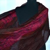 Шарф шерсть и шёлк ручная работа красно коричневый с малиновым