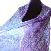 Шелковый Шарф сиренево серый с голубым натуральный шёлк батик