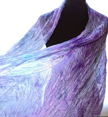 Шелковый Шарф сиренево серый с голубым натуральный шёлк батик ручной работы на заказ