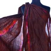 Шарф женский батик шерсть и шёлк ручная работа красно коричневый