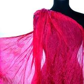 Женский Шарф шелковый ярко розовый маджента  жатый шарф