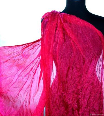 Женский Шарф шелковый ярко розовый маджента  жатый шарф ручной работы на заказ