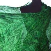 Шелковый шарф палантин женский зелёный натуральный шелк