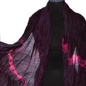 Большой Шарф черно малиновый женский шерсть и шёлк ручная работа