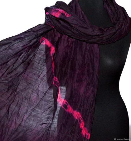 Большой Шарф черно малиновый женский шерсть и шёлк ручная работа ручной работы на заказ