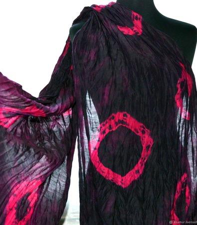Шарф черно малиновый женский шерсть и шёлк ручная работа ручной работы на заказ