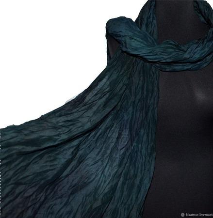 Темно сине зеленый Шарф шерсть и шёлк ручная работа ручной работы на заказ