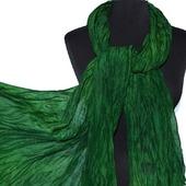 Зеленый теплый Шарф шерсть и шёлк ручная работа