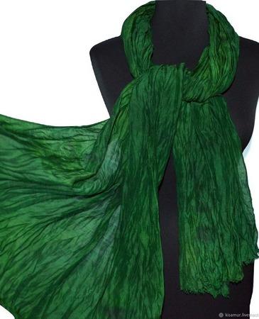 Зеленый теплый Шарф шерсть и шёлк ручная работа ручной работы на заказ
