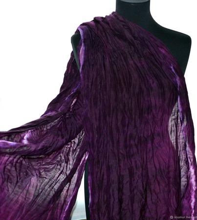Шарф женский баклажан бордо шерсть и шёлк ручная работа ручной работы на заказ
