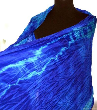 Теплый Шарф шерсть и шёлк сине голубой ручная работа ручной работы на заказ