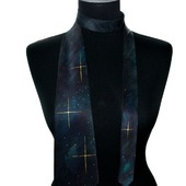 Галстук шёлковый черно изумрудный звёзды космос