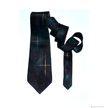Галстук шёлковый черно изумрудный звёзды космос ручной работы на заказ