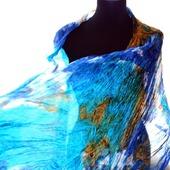 Шелковый шарф разноцветный сине бирюзовый с бежевым и белым шёлк