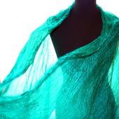 Шарф изумрудный длинный женский шёлковый