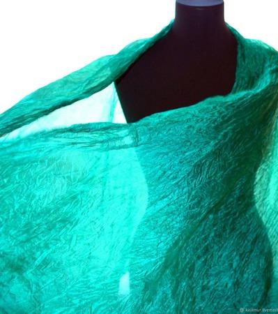 Шарф изумрудный длинный женский шёлковый ручной работы на заказ