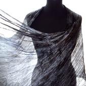 Шарф Темно серый шелковый длинный широкий шарф из шелка