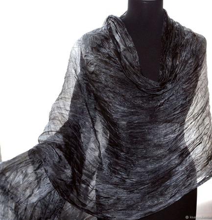 Шарф Темно серый шелковый длинный широкий шарф из шелка ручной работы на заказ