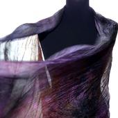 Палантин шелковый женский большой жатый