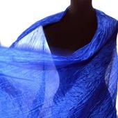 Женский шарф ультрамариновый из натурального шелка широкий длинный