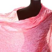 Шёлковый шарф розовый плиссированый