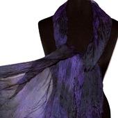 Шарф шелковый черно серо фиолетовый длинный широкий