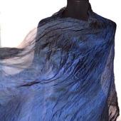 Шарф сине черно серый большой жатый шёлковый
