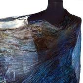 Большой шелковый шарф сине-коричневого цвета