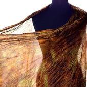 Шелковый шарф коричнево-рыжий