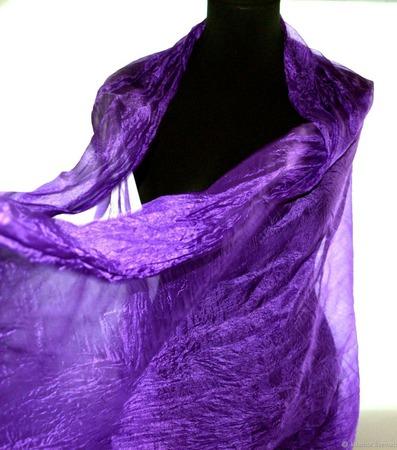 Шарф шелковый фиолетовый женский ручной работы на заказ