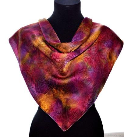 Платок пейсли восточный огурец яркий женский шейный ручной работы на заказ