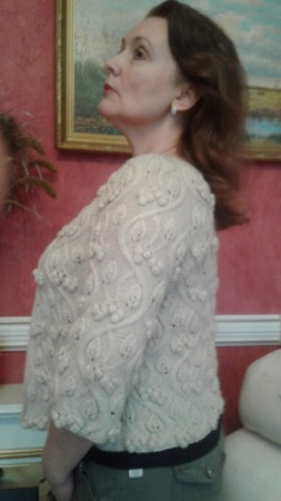 Жакет женский нарядный, связанный спицами ручной работы на заказ