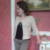 Жакет женский нарядный, связанный спицами