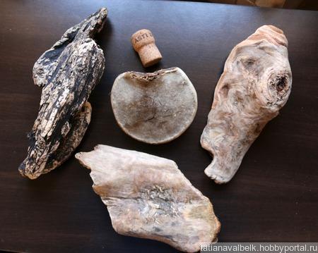 Чага и Дерево морское куски дрифтвуд Лот 7 ручной работы на заказ