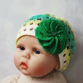 Летняя вязаная шапочка-панамка из бамбука для девочки