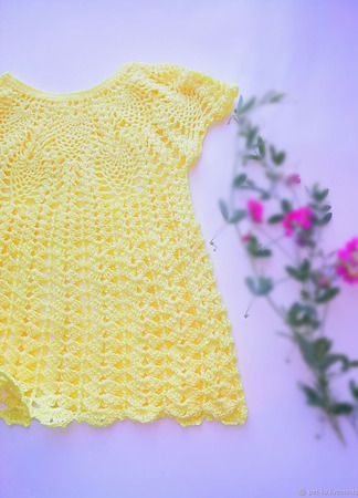 Платье летнее ажурное на годик ручной работы на заказ