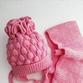 Шапочка и шарфик для девочки комплект вязанный