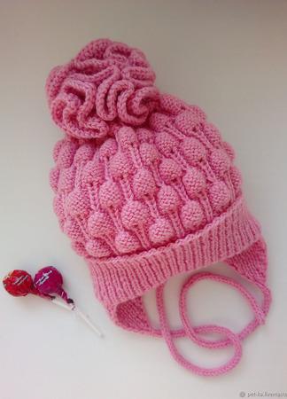 Шапочка и шарфик для девочки комплект вязанный ручной работы на заказ