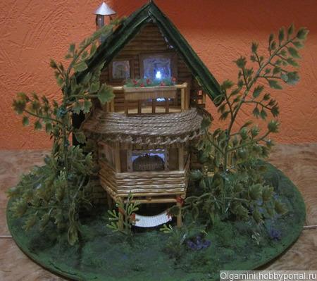 """Миниатюра """"Дачный домик"""" с подсветкой ручной работы на заказ"""