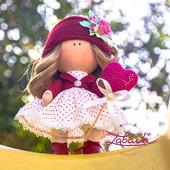 Кукла текстильная ручной работы с шикарными волосами