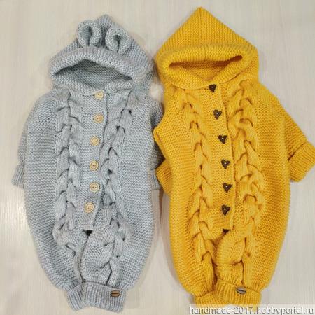 Вязаный комбинезон для новорожденных детей ручной работы на заказ