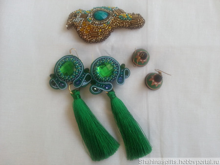"""Комплект """"Ярко-зеленый"""" ручной работы на заказ"""